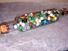 VINTAGE GLASS ROLLING PIN FILLED WITH VINTAGE MARBLES