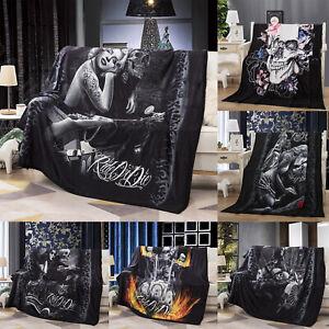 3D Skull Blanket Mink Soft Sofa Bed Chair Throw Sofa Faux Fur Fleece Tapestry