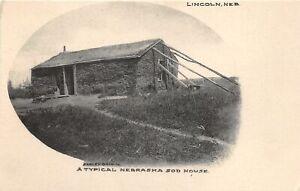 H66/ Lincoln Nebraska Postcard c1910 Typical Sod House Pioneer Home 47