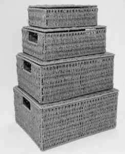 Storage Hamper Basket White Set Of 4 Paper Rope With Lid - Dark Grey