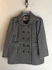 NEW $500 Juicy Couture Navy & White Polka Dot Short Wool Pea Coat Jacket Sz Med