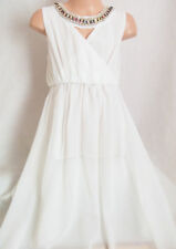 Vestido de fiesta chicas Collar Joya blanco cremoso Adorno griego de gasa Maxi 3-4 años