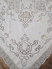 """Glorious White Linen Point de Venise +Filet Lace Antique Banquet Tablecloth 120"""""""
