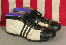 Vintage 1940s White/Black Leather Soccer Football Boots Cleats Rugby Shoes 45/46