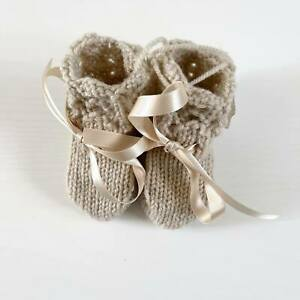 Hand Knitted Beige Bootees 0-3 Months