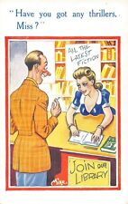 POSTCARD  COMIC  Library  Pretty  Girl    Thrillers