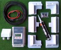MOTORHOME SOLAR PANEL FULL FITTING KIT TRACER 2210AN MPPT LCD display Regulator
