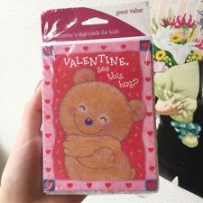 8 Lovely Valentines Day Bear Hug Cards For Kids, Children Cartoons Pink