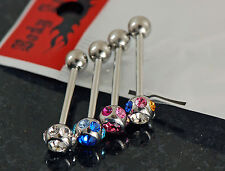 1 Pk Of Assorted Color Multi C.Z. 6Mm Balls Surgical Steel Bar Tongue Rings 14g