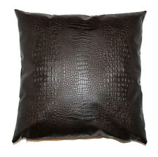 Alligator Throw Pillow Cover Faux Leather Brown 18x18 in