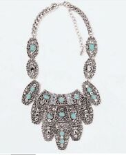 Genuine Zara Silver Metal Turquoise Blue Huge Layered Statement Necklace N286