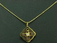 18kt 750 Gelbgold Halskette & Anhänger mit Diamant Besatz / 43,0cm