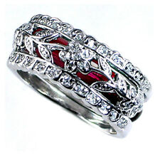 DESIGN REPLICA_RING SET_FLORAL VINE_CZ / RED ENAMEL_SZ-8__925 Silver_NF