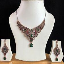Verde Rojo Dorado Indio Turca Mughal Bisutería Collar Aretes Set Nuevo