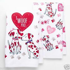 "2 Pc Set Happy Valentine's Day Holiday Kitchen Towels ""I Woof You"" Dogs NEW"