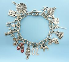 Wizard of Oz Inspired Loaded Charm Bracelet Dorothy Ruby Slippers Silver Jewelry
