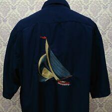 West Marine Camp Shirt Mens XL Nautical Embroidered Sailboat Short Sleeve Blue