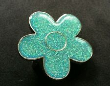 FLOWER SHAPED GREEN AND GOLD COLORED GLITTER  SPARKLING BRIGHT BELT BUCKLE