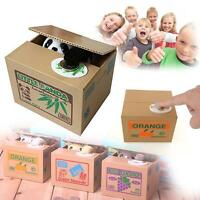 Cute Cat Panda Automated Steal Coin Money Box Piggy Bank Storage Saving Boxes BI
