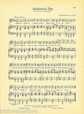 "UNIVERSITY OF ALABAMA Vintage Song Sheet c1941 ""Alabama's Day"" - Original"