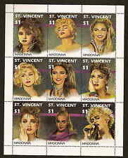 St. Vincent 1501 - Madonna sheet of nine diff. stamps - issued in 1991 - mint NH