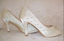 BNWB Talla 3 4 5 6 Crema Marfil Satén Diamante Talón Mediados Tribunal Zapatos de novia Peep