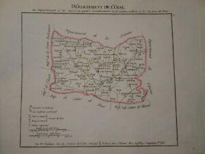 BELLE CARTE OISE COMPIEGNE BEAUVAIS SENLIS CHANTILLY NAPOLEON EMPIRE 1802