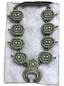 Navajo Damele Turquoise Sterling Squash Blossom Vintage Necklace , Signed L.M.B.