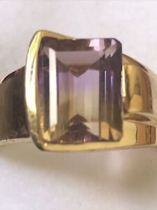 Stunning Emerald Cut Ametrine Solitaire Gold Over Sterling Silver Silver Ring 7