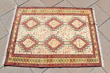 1990's Caucasian Never Been Used Silk Kilim Caucasian Oriental Silk Soumak Kilim