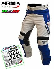 ARMR MOTO TOTTORI EVO 2 WATERPROOF MOTORCYCLE TROUSERS STONE/BLUE XXXL