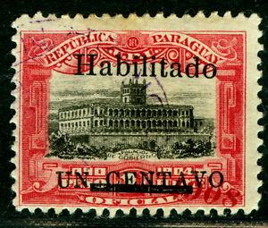 "PARAGUAY  1908 Governmental Palace -HABILITADO- Sc#171 ""1908""misplaced at bottom"