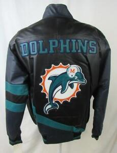 Miami Dolphins Mens Medium or Large Full Zip Embroidered Leather Jacket ADOL 181