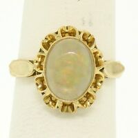 Estate 14k Solid Yellow Gold 1.50ct Oval Opal Bezel Set Solitaire Ring