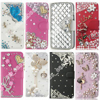 Bling Rhinestone Flip Leather Wallet Stand Case Cover Skin For Samsung/iPhone/LG