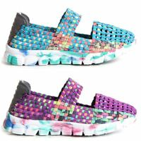 Womens Ladies Woven Shoes Slip On Multi Colour Mary Jane Elastic Upper Trainers