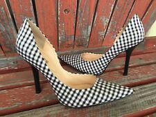 *BLacK WHiTe* Sz 7 Checkered Fabric Pointy Toe CARRIE Stiletto Heel PUMP GuESS
