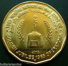 India War Gun Soldier Memorial Valor Sacrifice 1965 Operations UNC New 2015 5 Rs