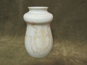 Circa 1910 Arts Crafts Design Acid Cut Back Glass White Tan Light Lamp Shade