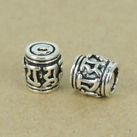 2 PCS 925 Sterling Silver Buddhism Bead Protection Vintage Barrel 7x7mm WSP405X2