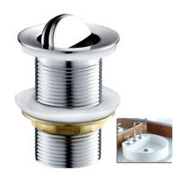 "Waste Swivel Top Flip Top UNSLOTTED Basin Sink Plug Chrome Heavy Duty 1 1/4"" UK"