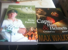CAPS,HATS & HELMETS BY MAX WALKER + CAPTAINS DIARY BY RICKY PONTING BKS    (210)