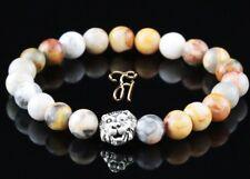 Marbre Agate - Argenté Tête de Lion - Bracelet Bracelet Bracelet de Perles