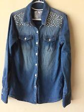 Justice youth girls size 8 denim rhinestone detailed blouse