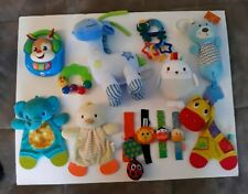 Baby Toys Nice 13 pc Lot - Soft Animals Teethers Hanging Toys Rattles - Clean