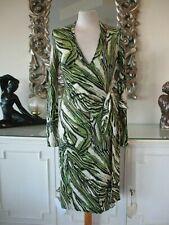 DIANE VON FURSTENBERG DVF Green Black Beige 100% WOOL LINDA Forest Wrap Dress S