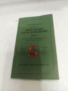 Instruction Manual Singer Portable Electric Sewing Machine Model 221-1 NICE COND