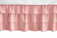 Sweet Jojo Dusty Coral Pink Ruffled Tiered Baby Girl Crib Bed Skirt Dust Ruffle
