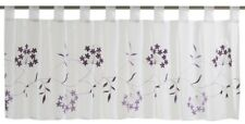 Kitchen Drape Half Curtain Window transparent Cappellini floral purple 198626
