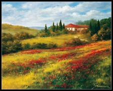 Chart Needlework Craft Counted Cross Stitch Patterns - Landscape with Poppies I